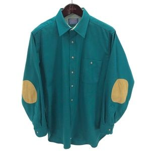 PENDLETON Shirt M Wool Solid Green Elbow Patches